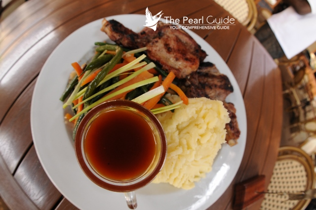 Grilled Pork at the Bistro with gravy and mashed potato